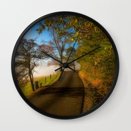Smoky Morning - Whimsical Scene in Great Smoky Mountains Wall Clock