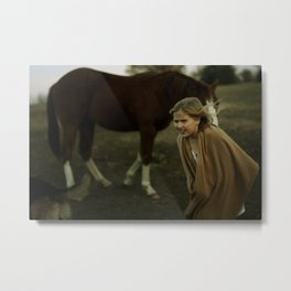 The Little Sister and the Big Horse Metal Print