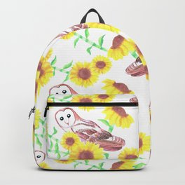 Barn owls and Sunflowers watercolor art Backpack