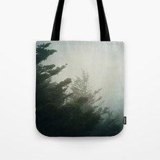 Foggy Pine Trees Tote Bag