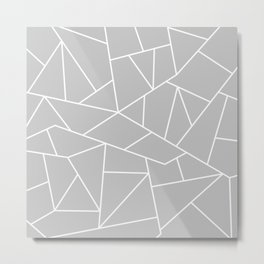 White Mosaic Lines On Silver Gray Metal Print