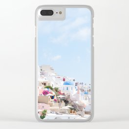Pastel Colored View on Santorini Greece Clear iPhone Case