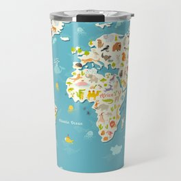 Animals world map. Beautiful cheerful colorful vector illustration for children and kids Travel Mug