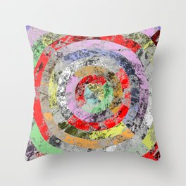 Textured Bullseye - Abstract, marble, pastel colours Throw Pillow