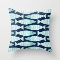 bass Throw Pillows featuring Wavy Bass by Jill Byers