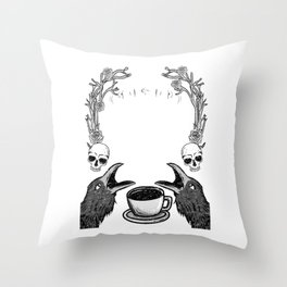 Dead but Caffeinated - Funny Witchcraft Coffee Throw Pillow