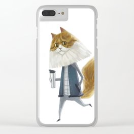 A cat holding a tumbler Clear iPhone Case