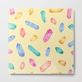 Crystals pattern - Yellow Metal Print