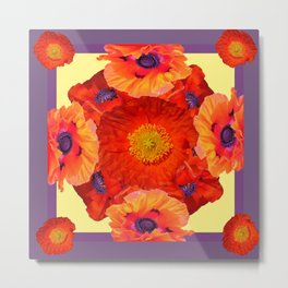 Orange-Yellow Poppies Purple Pattern Art Metal Print