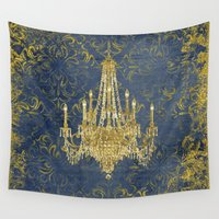 chandelier Wall Tapestries featuring Gold Chandelier on Vintage Tapestry by PeachAndGold