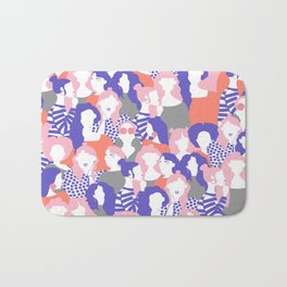 Sisterhood // Womenpower: Different women with bold colors, grouped in a colorful pattern Bath Mat