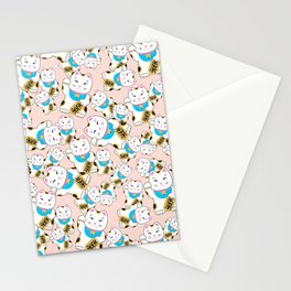 Maneki-neko good luck cat pattern Stationery Cards