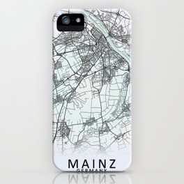 Mainz, Germany, White, City, Map iPhone Case