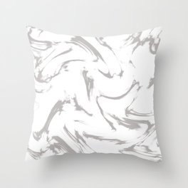 Marble Black and White Grey Gray Marble Swirl Throw Pillow