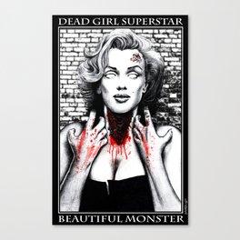 """DEAD GIRL SUPERSTAR """"BEAUTIFUL MONSTER"""" Canvas Print"""