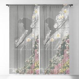 Spring Skiing Sheer Curtain