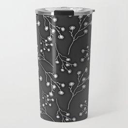 Baby's Breath Flower Pattern - Black Travel Mug
