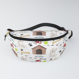 West Highland Terrier Half Drop Repeat Pattern Fanny Pack