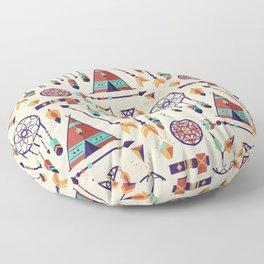 Aztec Tribal Seamless Pattern wiht Dreamcatcher and Arrows Floor Pillow