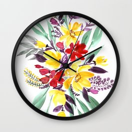 """Floral bouquet in fall colors """"Eloisse"""" Wall Clock"""