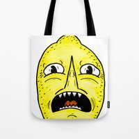 lemongrab Tote Bags featuring LEMONGRAAAAAB by alexSHARKE