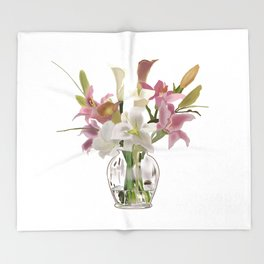 vase and flowers on white background . art Throw Blanket