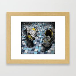 Running Shoes on a Blue Tile Floor Framed Art Print