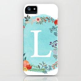 Personalized Monogram Initial Letter L Blue Watercolor Flower Wreath Artwork iPhone Case