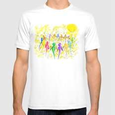One Breath White Mens Fitted Tee MEDIUM
