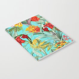 Vintage & Shabby Chic - Colorful Tropical Blue Garden Notebook