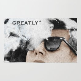 John F Kennedy Cigar and Sunglasses 3 And Quote Rug
