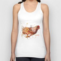 chicken Tank Tops featuring Chicken by libby's art studio