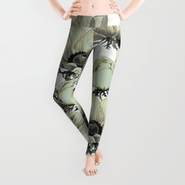 anemone flowers (white background) Leggings