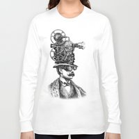 antique Long Sleeve T-shirts featuring The Projectionist (colour option) by Eric Fan