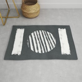 Lines that meet figures dark version - minimal boho Rug