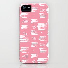 White brush stripes on pink iPhone Case