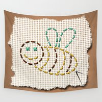 bee Wall Tapestries featuring bee by gazonula