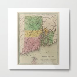 Native American Tribes and Territories of Pre-Colonial Rhode Island and Southern New England Vintage Metal Print