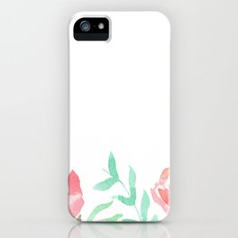 Pink Florals And Mint Leaves iPhone Case