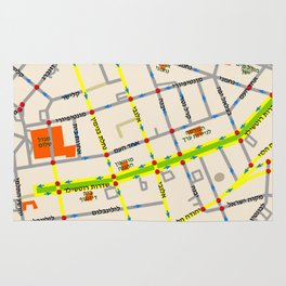 Tel Aviv map - Rothschild Blvd. Hebrew Rug