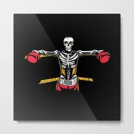 Boxing Skeleton in ringside skull fighter Metal Print