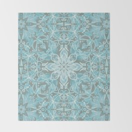 Soft Teal Blue & Grey hand drawn floral pattern Throw Blanket