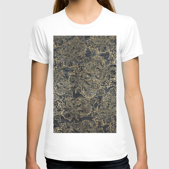 Glam black gray faux gold creased paper floral by pink_water
