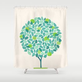 Mid Century Lime Tree Shower Curtain