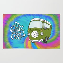 Camper Bus Not All Who Wander Are Lost Rug