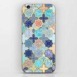 Cream, Navy and Aqua Geometric Tile Pattern iPhone Skin