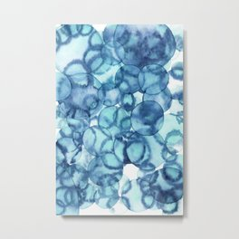 Aqua Bubbles Metal Print