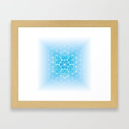 THE FLOWER OF LIFE - MANDALA ON BLUE Framed Art Print