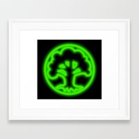 magic the gathering Framed Art Prints featuring Magic the Gathering, Neon Green Mana by Thorn Blackstar
