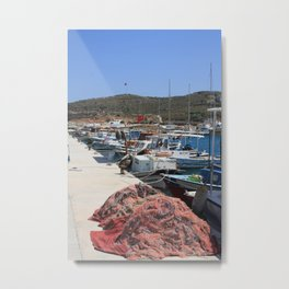 Red Fishing Net and Fishing Boats in Datca Metal Print
